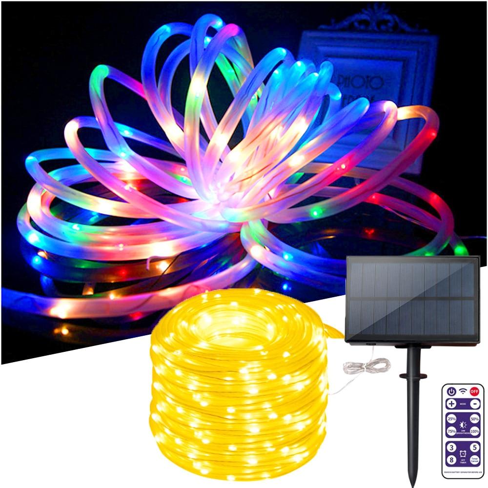 10m/20m/30m Hose LED String Lights Solar Panel Fairy Christmas Lights Outdoor Waterproof 1200mAh Decorate Wedding Party Garden