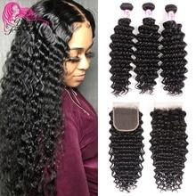 Beleza para sempre onda profunda brasileira feixes de cabelo com fechamento parte livre/parte do meio 100% remy cabelo humano tece alta relação