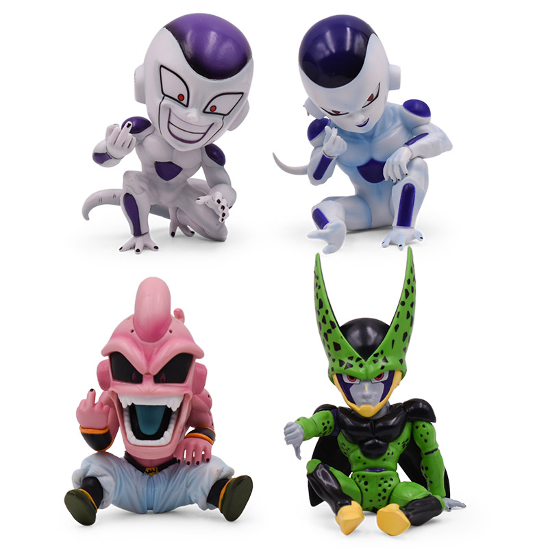 4 styles/set Anime Dragon Ball Z GK KID Buu Cell Frieza PVC Action Figure Freeza Doll Collectible Model Toy Christmas Gift