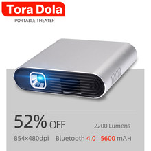 Tora dola ph20, toque dlp projetor android 7.0 wifi, bluetooth, 5400 mah bateria, hd em, cinema em casa portátil, tv led(China)