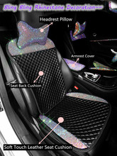 Car Seat Cover PU Leather Full Set, Women Bling Rhinestone Interior Accessories Cushion, Universal Size, Luxury Decoration