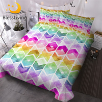 BlessLiving Watercolor Bedding Set Rainbow Colors Duvet Cover 3 Pieces Geometric Hipster Bedspreads Queen Colorful Home Textiles