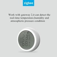 Zigbee wifi sem fio sensor de umidade temperatura display lcd trabalho com tuya zigbee hub bateria alimentado alarme segurança
