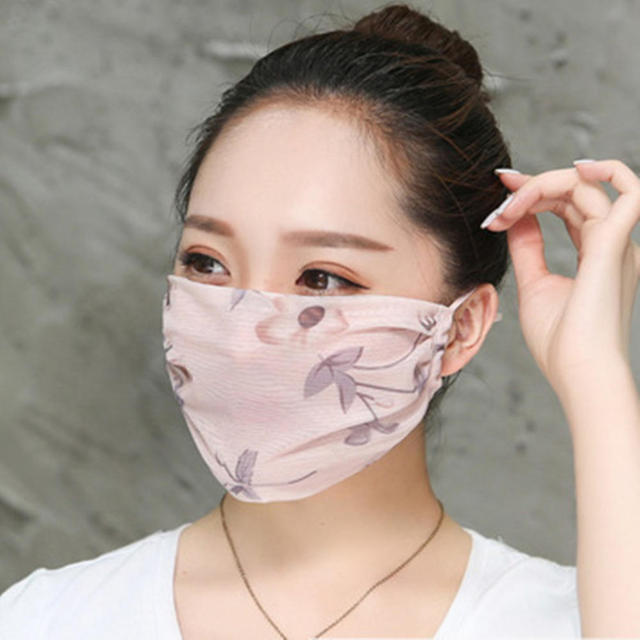 Hot New Korean Version Of Lady Chiffon Floral Female Summer Ultra-thin Sunscreen And Breathable UV Protection Mask Thin Masks 2