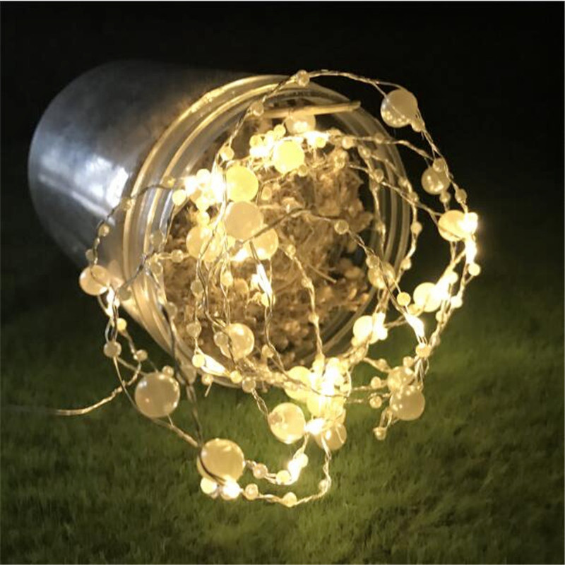 10LED Pearl Copper Wire Battery String Light Fairy Light For Craft Glass Bottle Valentines Wedding Home Garden Xmas Decoration
