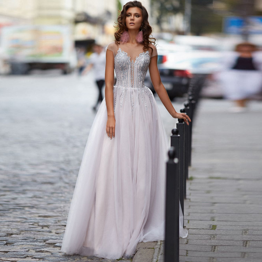 Charming Graduation Dresses Tulle Appliques Scoop Sleeveless Backless A-Line Gowns Novia Do 2021 Party Elegant