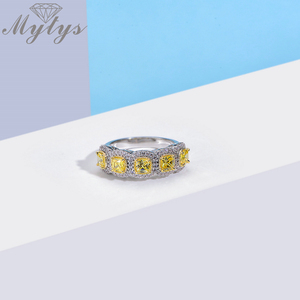 Image 2 - Mytys Fashion Romantic Ring Exquisite Created Yellow Color AAA Cubic Zircon Ring for Women Full Setring Luxury Jewelry R2149