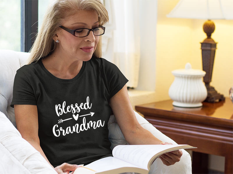 Blessed Grandma Shirt Funny Cute Graphic Tees Women Letter Print T-Shirt Casual Short Sleeve Tops Gift For Grandma