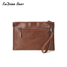 KUDIAN BEAR Retro Leather Clutch Bag Fashion Men Handbag For Ipad Casual Bag Shoulder Bag Cell Phone Pocket BIX417 PM49
