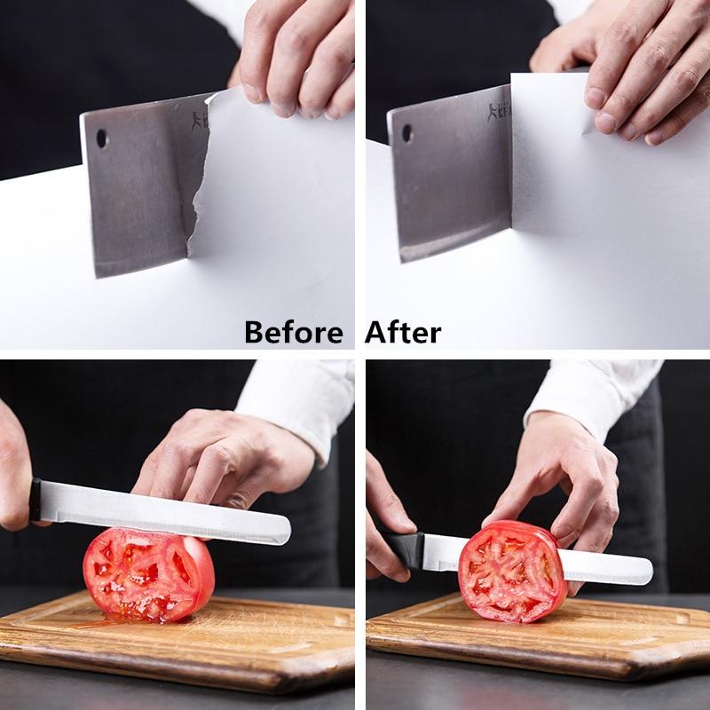 Knife Sharpener Stainless Steel 3 Stages Professional Kitchen Tool Sharpening Stone Grinder Knives Whetstone Diamond Sharpener 6