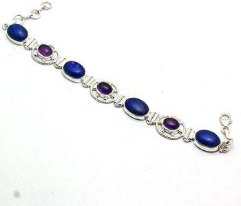 Genuine Lapis Lazuri + Amethyst Bracelet 925 Sterling Silver, 20.5 cm, 2SBR0123