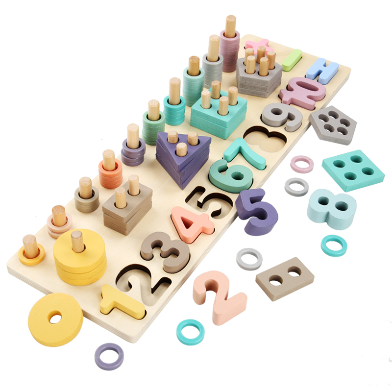 Kids Toys Montessori Educational Wooden Toys Geometric Shape Cognition Matching Math Baby Early Educational Toys For Children