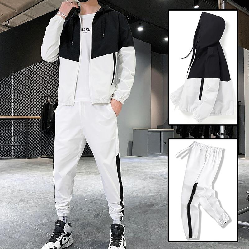 Hip Hop Military Men Tracksuit Hooded Jacket+Harem Pant Patchwork 2PC Set For Men Fashion 2020 New Mens Sportswear Suits