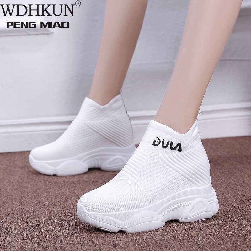 Ademend Gebreide Chunky Sneakers Vrouwen 2020 Nieuwe Herfst Solid Wedge Sok Schoenen Vrouw Dikke Bodem Hoge Schoenen Vrouwelijke