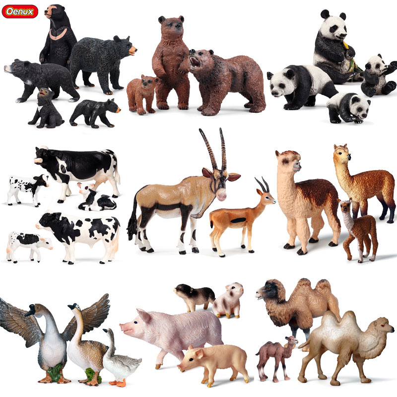 Oenux Wild Farm Zoo Animals Set Model Action Figure Solid PVC Bear Alpaca Tiger Lion Panda Animal Miniature Figurines Kids Toy