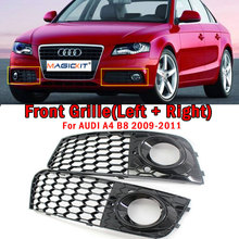 MagicKit 2PCS High Quality Chrome ABS Plastic Right Left Fog Light Lamp Cover Grille For Audi A4 B8 2008 2009 2010 2011 2012 high quality chrome head light cover for honda civic 2012 free shipping
