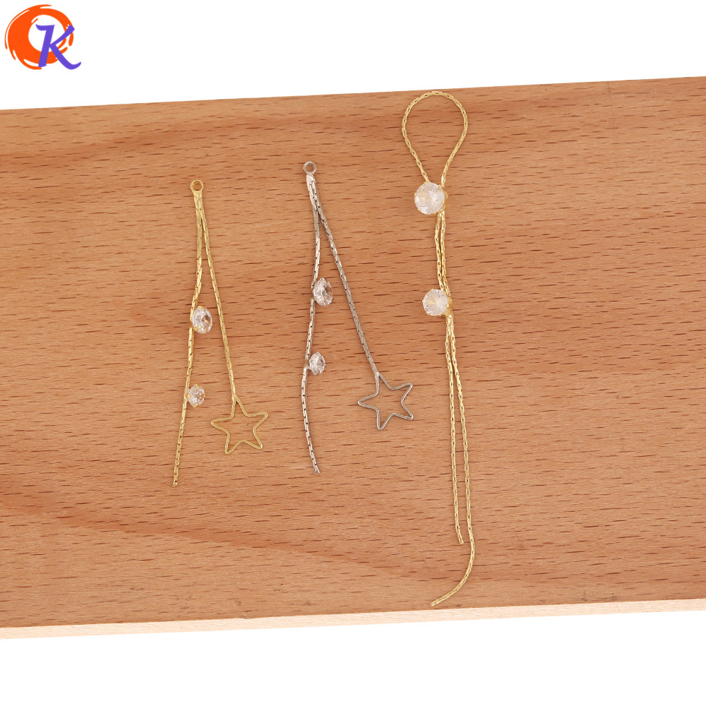 Cordial Design 50Pcs Jewelry Accessories/CZ Earring Findings/DIY Parts/Claw Chain/Star Shape/Hand Made/Connectors For Earrings