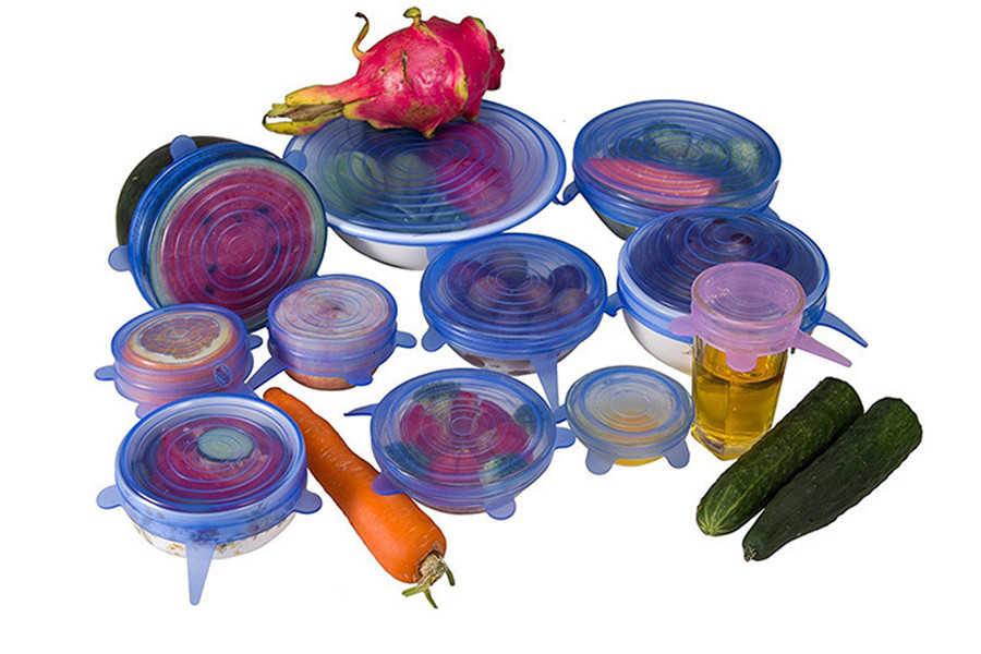6 ชิ้น/เซ็ตซิลิโคนฝาปิดยืดฝาครอบดูดทำอาหารหม้อการรั่วไหลฝา Stopper Home ชาม