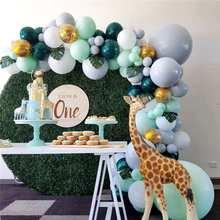107 sztuk Green Balloon Garland Arch Kit Safari Jungle Party Wild One dekoracje urodzinowe dla dzieci przybory dla niemowląt
