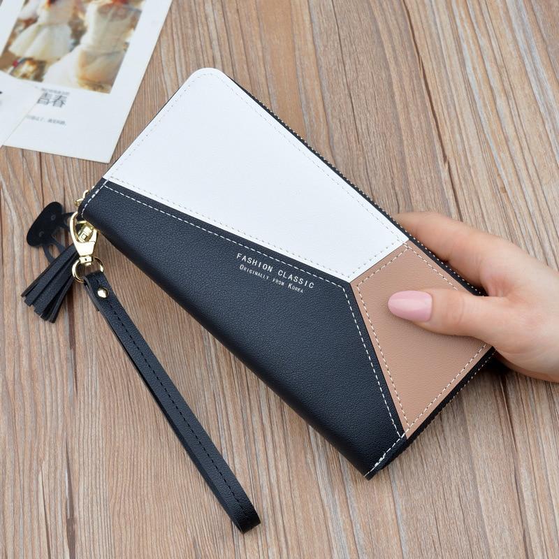 Геометрические женские кошельки на молнии, розовый карман для телефона, кошелек, держатель для карт, пэчворк, Женский Длинный кошелек, Дамский короткий кошелек с кисточками - Цвет: Long-Black