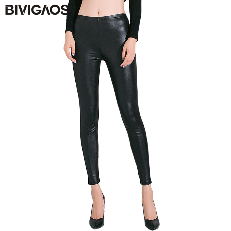 BIVIGAOS Spring Summer Thin Imitation Leather Leggings Stretch Sexy Shiny Leather Look Leggings Women Ankle Pants Gothic Legging