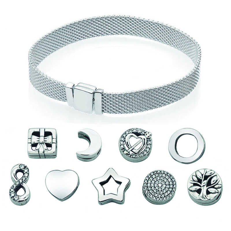 Cefuny 925 Sterling Silber Reflexion Mesh Armbänder & Clips Charms Pave Schmetterling Asymmetrische Herz Blau Teardrop Clips Charms