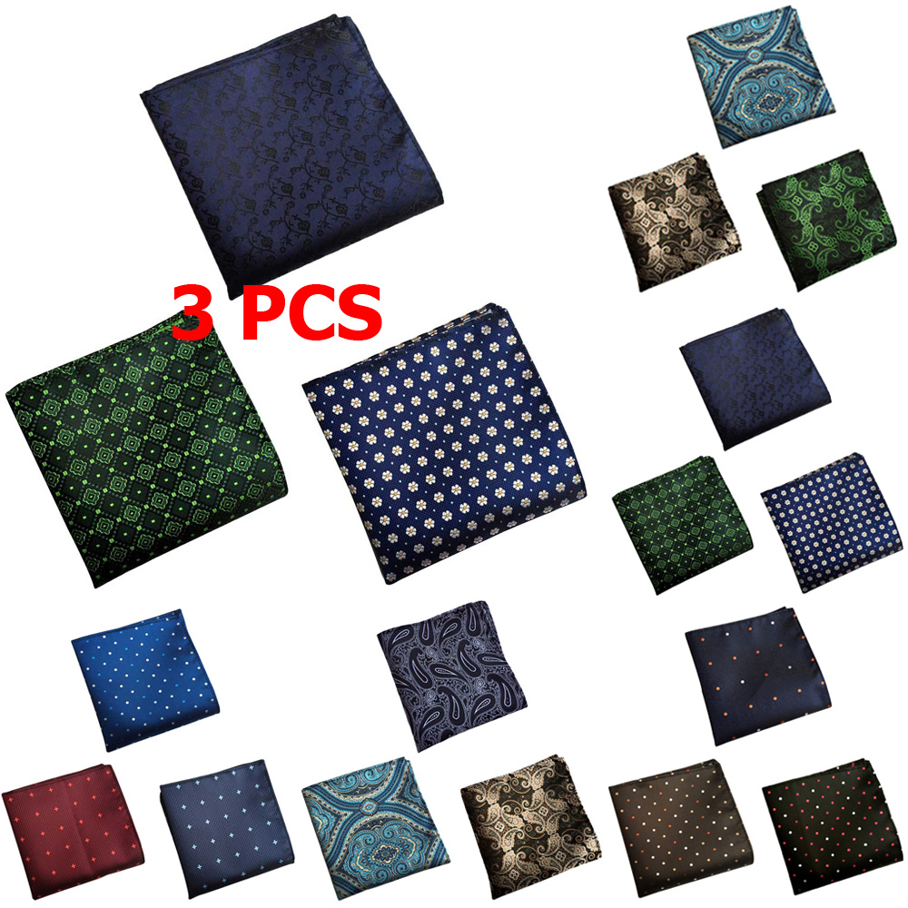 3 PCS Men Dots Paisley Flower Pocket Square Handkerchief Wedding Party Hanky