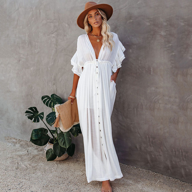 Women Solid Color Long Beach Kimono Cardigan Open Front Bikini Swimsuit Cover Up