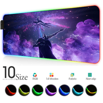 League of legends jhin vs camille RGB Mouse Pad Gamer PC Gaming Accessories Large LED MousePad 90x40cm with Backlit Rubber mat