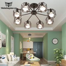 American Industrial Chandelier Modern Iron Black Lighting E27 Bulb Livingroom Bedroom Hanging Lights Lustre Luminaria