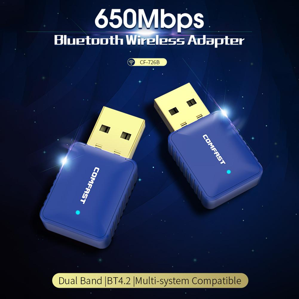 For COMFAST CF-726B Bluetooth 4.2 Dual Frequency 650M Two In One Wireless Network Card Computer Adapter WiFi Receiver