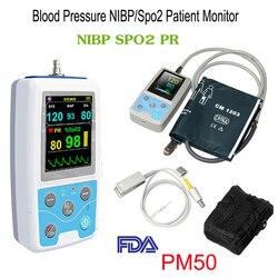 PM50 2,4 Monitor de paciente LCD color presión arterial NIBP SPO2 medidor de prueba de ritmo de pulso máquina de señal Vital portátil + sonda + manguito CE, FDA