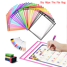 Reusable Dry Erase Pockets Board Transparent Dry Wipe The File Bag Write And Wipe Drawing Whiteboard Used for Teaching Supplies