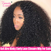 цена на Afro Kinky Curly Human Hair Wigs 4x4 Lace Closure Wig 150% Lace Front Human Hair Wigs 13x4 Lace Frontal Wig Remy Brazilian Wig