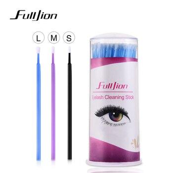 100pcs varas de limpeza dos cílios micro escovas extensão cílios escovas de cotonete de algodão para os olhos remover ferramenta de maquiagem descartável 1