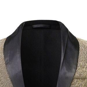 Image 3 - Gold Silk Blazer Men Single Button Shawl Collar Mens Blazers Jacket DJ Club Dance Party Stage Dazzling Blazer Masculino Outwear