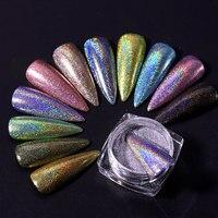 1 caixa de laser prego glitter holográfico em pó para unhas espelho polimento pigmentos cromados shimmer dip pós decorações da arte do prego|Brilho p/ unha|   -