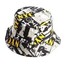 Bucket Hats Fisherman-Hat Sun-Caps Two-Sided-Wear Panama Reversible Print Men's Women