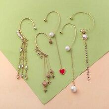 1 Pcs Boho Feather Tassel Long Ear Hook Earring Hot Sale Fashion For Women Girl Dress Jewelry No Ear Hole Ear Cuffs Clip Earring