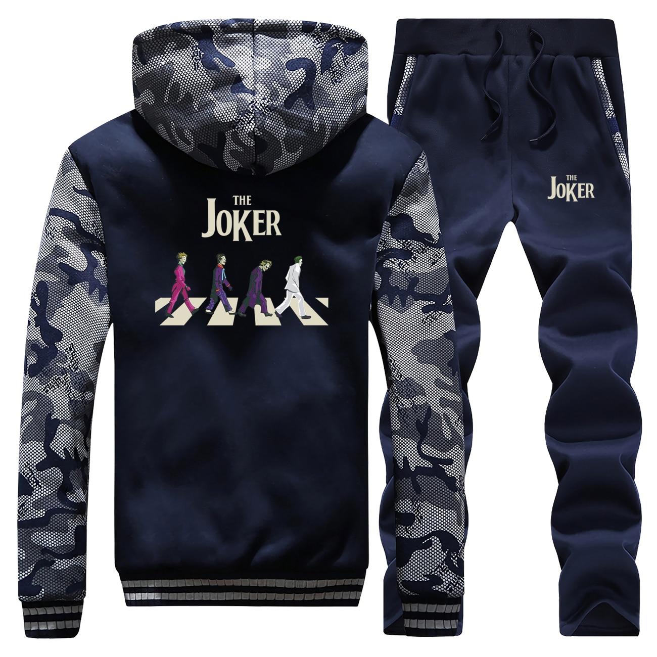 Funny Joker New Winter 2019 Retro Print Sweatshirt Mens Hooded Camouflage Warm Jackets Hip Hop Suit Coat Thick+2 Piece Set Pants