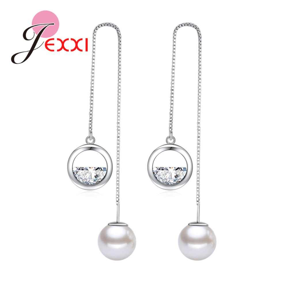 Korea Baru Laporan Pearl Drop Earrings 925 Sterling Silver Cubic Zirconia Panjang Rumbai Anting Pecinta Perhiasan Hadiah