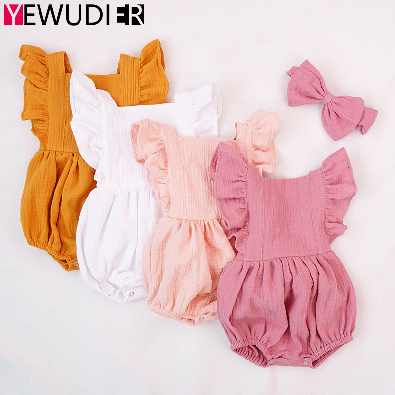 2020 New Newborn Rompers Clothes Baby Girls Cute Ruffle Backless Jumpsuits Toddler Cotton Long Sleeve Outfits One Piece Bowknot
