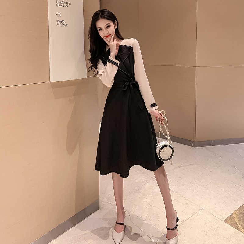 Лоскутное платье с бантом, модное, высокая талия, темперамент размера плюс, элегантное платье, офисные, вечерние, с длинным рукавом, зима, осень, для женщин, Mujer