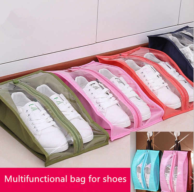 Portable Travel Supplies Organizer Shoes Storage Bag PVC Waterproof Dustproof Hanging Save Space Closet Rack Hangers
