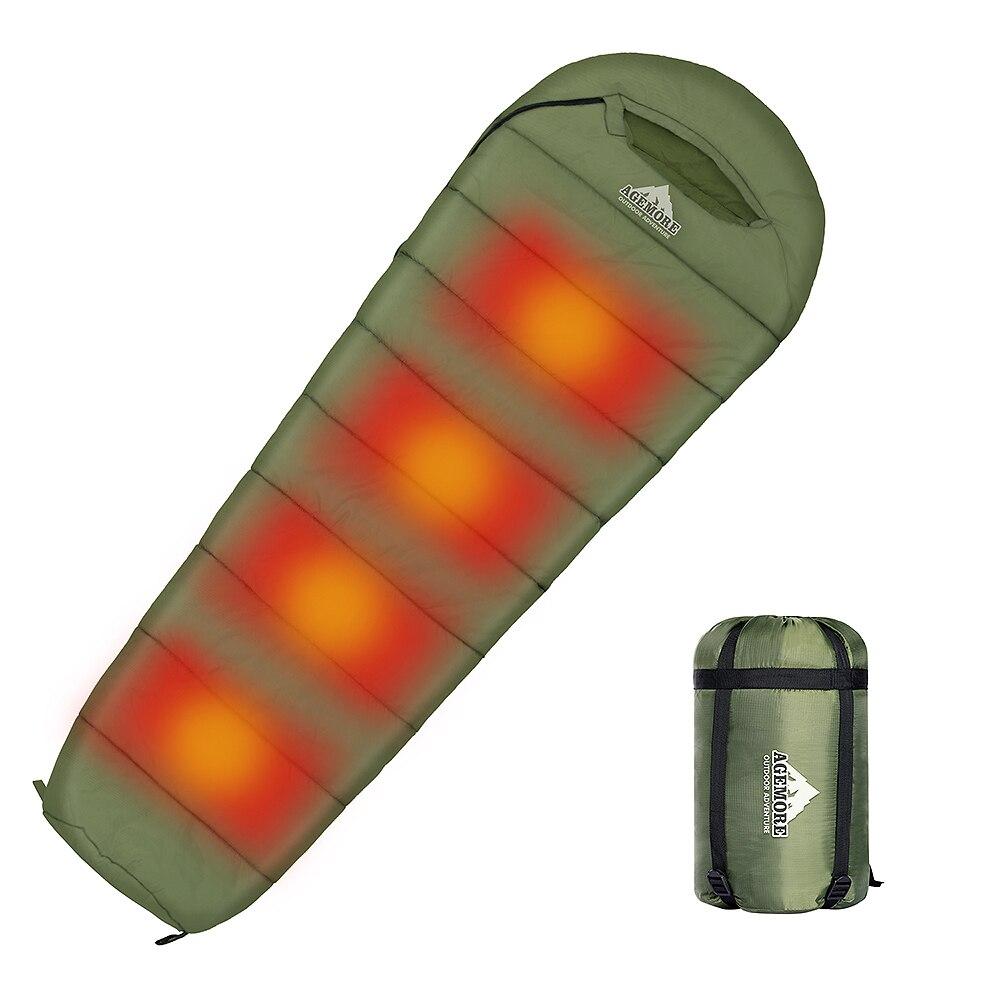 Agemore 220x80cm Envelope Winter Sleeping Bag Electric Heating Camping Sleeping Bag Outdoor Traveling Sleeping Bag Waterproof