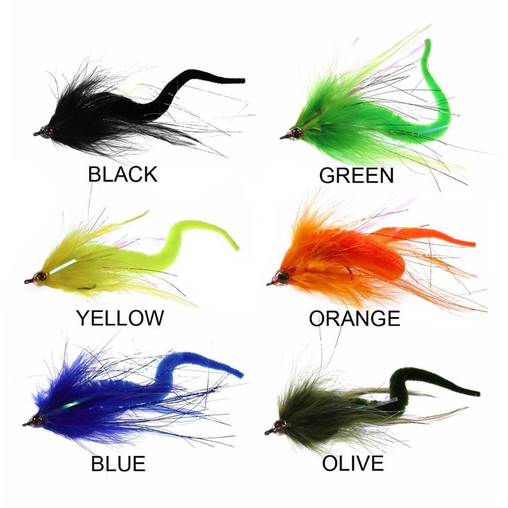 1PC #2/0 Dragontail Pike Streamers Flies for Bass <font><b>Muskie</b></font> Pike Fishing <font><b>Lures</b></font> Saltwater <font><b>Big</b></font> Fish Baitfish Fly 6 Colors image