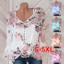 Large size loose blouse 2020 summer blouse top casual printing v-neck chiffon ladies shirt