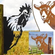Farm Peeping Goat Chicken Metal Art Ornaments Garden Outdoor Wall Mounted Ornaments Silhouette Yard Art Livestock Statues Decor