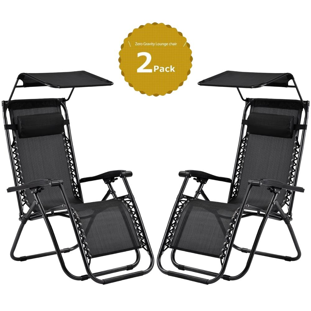 2Pcs/Set Sun Loungers With Canopy Heavy Duty Textoline Zero Gravity Chairs Garden Home Use Furniture Outdoor Patio