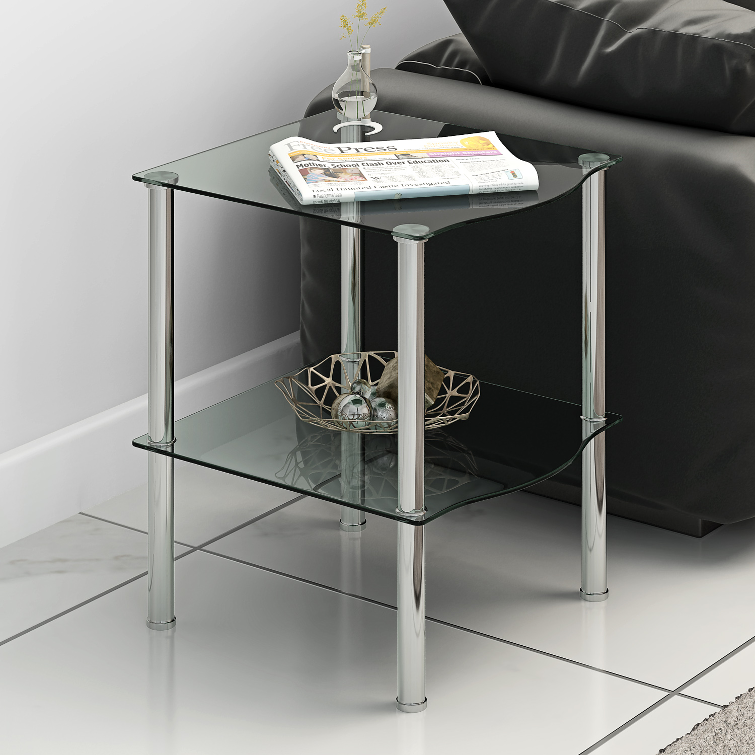 Panana Modern 2 Tiers Glass Side End Coffee Lamp Table Minimalist Display Stand Shelf Sofa Side Small Table Black/Clear
